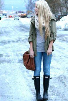 Winter   , H em Casacos, Asos em Lenços/Echarpes, Asos em Bolsas, Zara em Jeans, Hunter em Botas
