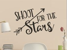 Shoot for the Stars By Kristin Amanda Designs Kids Wall Decals, Wall Stickers, Vinyl Decals, Silhouette Cameo Projects, Silhouette Design, Animal Silhouette, Vinyl Crafts, Vinyl Projects, Inspirational Wall Quotes