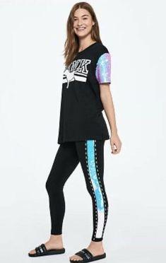 2f02fb751fc Victoria s Secret PINK Bling Flip Sequin Logo Campus Tee Size Medium   fashion  clothing