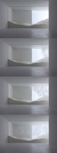 tokujin yoshioka for 'sensing nature' exhibition Mori Art Museum, Tokyo, Tokujin Yoshioka's project 'snow' is a dynamic installation. it consists of a scene depicting hundreds of kilograms of light feathers blowing all over and falling down Instalation Art, Web Design, Design Art, Light And Space, Exhibition Space, Light Art, Art And Architecture, Art Museum, Sculpture Art