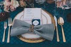 teal + gold place settings // event design by YellowBirdEvents.com photo by Fondly Forever