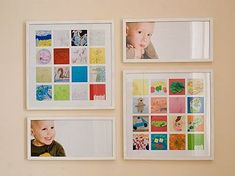 This woman wanted to display artwork her kids had done.  She took pictures of the work, collected the pictures in one frame, and hung it on the wall.  Great idea!  You can display a lot of pictures in one space.