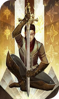 Blade of the Faith (Dragon Age Inquisition | Inquisitor Taliesin Trevelyan | Warrior | Sword and Shield | Knight of Swords) by katorius.deviantart.com on @DeviantArt