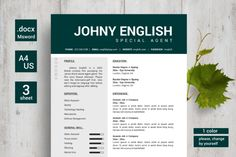 Modern English Resumes / CV by YanBrothers Shop on @creativework247
