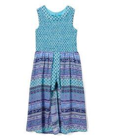 Love this Aqua & Purple Geometric Romper - Girls on #zulily! #zulilyfinds