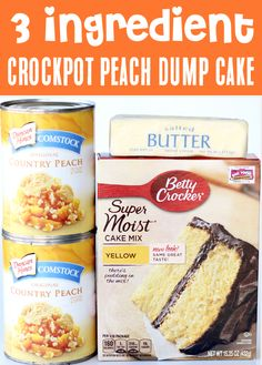 Crockpot Peach Dump Cake Recipe with Pie Filling! Add this sweet Peach temptation to your menu this week, and gain a house full of fans! Get ready for smiles… but forget about the leftovers!! This slow cooker peach cobbler will vanish before your eyes! Go grab the recipe and give it a try! Slow Cooker Cake, Best Slow Cooker, Slow Cooker Recipes, Delicious Crockpot Recipes, Crockpot Meals, Fun Desserts, Delicious Desserts, Dessert Recipes, 3 Ingredient Desserts