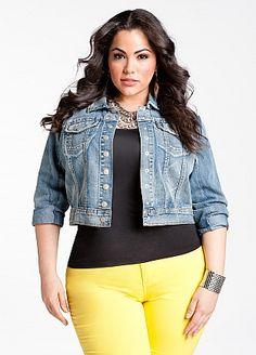 Plus Model: Nicole Zepeda,  Agency: MSA Models in New York City, Ashley Stewart: Chain Embedded Jean Jacket, pants too....cute.