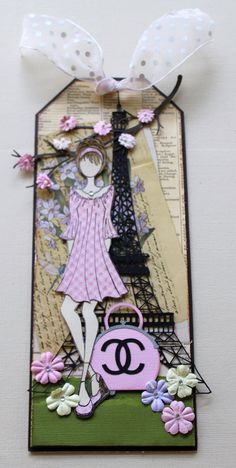 I Love Paris in The Spring time ~ Spring Doll tag ~ Julia Nutting Dolls