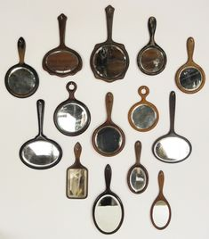 Antique Beveled Hand Mirrors. From the late 19th and early 20th century.