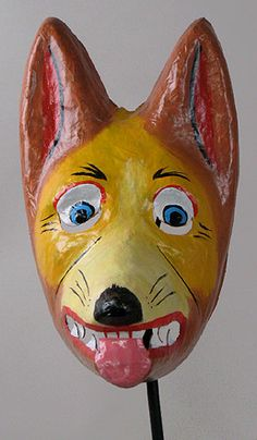 Dog mask Latacunga, Ecuador, papier mache,