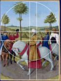 L' empereur Charles IV. de Jean Fouquet: dans ce tableau, le peintre transforme les 2 cercles verticaux en un cercle unique, qui tangente le bord supérieur. Quant à la proportion dorée ou nombre d'or, elle était connue depuis l'Antiquité et fut fréquemment utilisée durant la Renaissance, car elle était considérée comme la proportion parfaite. Sa valeur est de 1, 618. Fouquet employait à la fois les segments dorés qui se rapportaient à la hauteur et à la largeur du cadre. Jean Fouquet, Comme, Renaissance, Outdoor Decor, Unique, Circles, Emperor, Notebooks, Board