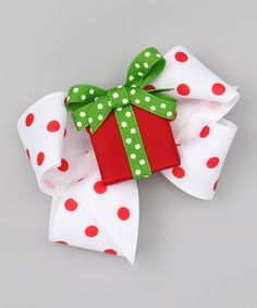 Take a look at this Red Present & Polka Dot Bow Clip Set by Picture Perfect Hair Bows on #zulily today!