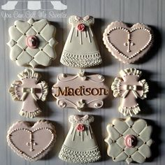 First Communion Cookies Fancy Cookies, Iced Cookies, Custom Cookies, Cupcake Cookies, Sugar Cookies, First Communion Cakes, First Holy Communion, Bautizo Cakes, Cake Paris