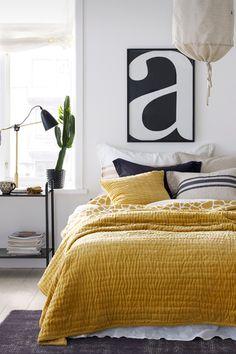 Ellos Home Keltainen Alexia-päiväpeite pestyä puuvillasamettia 260x260 cm