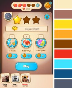 Jelly Splash by Wooga - Menu Colour Palette  - Match 3 Game - iOS Game - Android Game - UI - Game Interface - Game HUD - Game Art