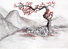 White Tiger and Red Plum-tree by ~Anka-noctua on deviantART