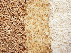 Picture of Food background with three rows of rice varieties : brown rice, mixed wild rice, white (jasmine) rice. stock photo, images and stock photography. Brown Rice Slow Cooker, Quinoa In Rice Cooker, Brown Rice Cooking, How To Cook Rice, How To Cook Quinoa, Parboiled Rice, Jasmine Rice, White Jasmine, Can Dogs Eat