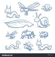 stock-vector-set-of-cute-little-cartoon-insects-and-small-animals-bugs-bee-worm-caterpillar-butterfly-339767507.jpg (1500×1546)