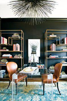 Everything You Need For a Skillfully Styled Bookshelf // bookcase, bookshelves, lucite desk, gold etagere