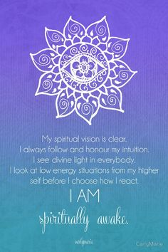 Third Eye Chakra Affirmation by CarlyMarie - beautiful chakra meditations (and other gorgeous work) you can have made into wall art, cards, etc at redbubble.
