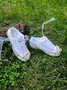 Wedding Converse Wedding Shoes Bridal Sneakers Bling Shoes | Etsy Converse Wedding Shoes, Custom Converse, Wedding Heels, Lace Sneakers, Sneakers Nike, Wedge Shoes, Shoes Heels, Bling Shoes, Chuck Taylor Sneakers