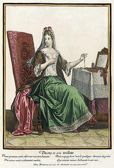 Recueil des modes de la cour de France, 'Dame a sa Toilette' (Lady at her Dressing Table) Henri Bonnart 1687