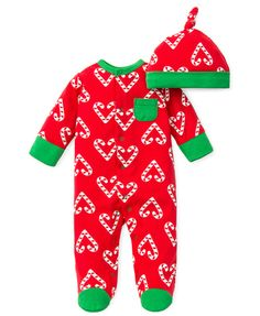 5aa3c75907464 Offspring Infant Girls  Heart Candy Cane Footie  henryandlola Infant Girls
