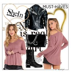"""""""SHEIN PINK T-SHIRT CONTEST !"""" by jasmine-monro ❤ liked on Polyvore featuring Leka, Stuart Weitzman, Nine West and shein"""