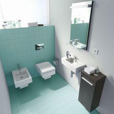 Perfekt Ideen Für Ein Kleines Badezimmer   Türkis / Grün Fliesen   Eckige Bademöbel