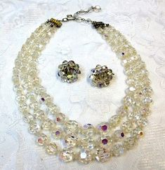 Coro Austrian Crystral Necklace Earring Set Crystal Bridal Set