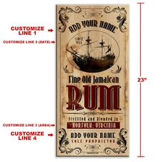 Rum Bar Decor - Jamaican Rum~ x - Customizable Large Vintage Wooden Bar Sign - Wall Hanging Wooden Bar, Wooden Signs, Small Bars, Bar Signs, Personalized Signs, Rum, Custom Design, Conversation Pieces, Fields