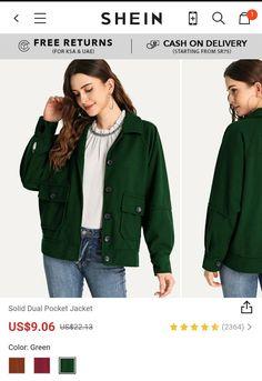 BUY Solid Dual Pocket Jacket 🔺️Use promocode: SADCA15 for 15% off on orders ...🔺️ COLORS: Green .. Burgandy ..  Brown
