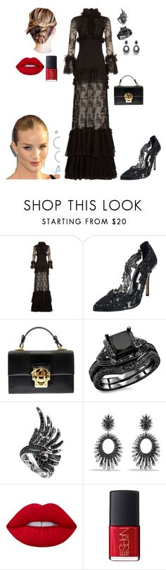 """#black"" by einatv ❤ liked on Polyvore featuring Costarellos, Oscar de la Renta, Dolce&Gabbana, Boucheron, David Yurman, Lime Crime, NARS Cosmetics and Whiteley"