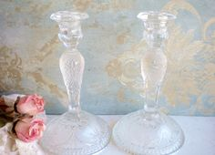 Vintage Depression Glass Candleholders Set Of 2, Wedding Candleholders/Vintage Taper Holders/Home Decor/Rustic Wedding by MyVingtique on Etsy