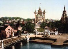 Djurgårdsbron, Stockholm,  a photochrome of Stockholm's World Fair in 1897.