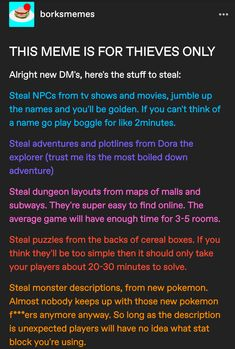 Dungeons And Dragons Memes, Dungeons And Dragons Homebrew, Book Writing Tips, Writing Prompts, Dnd Stories, Dungeon Master's Guide, Dnd Funny, Dragon Memes, Dnd 5e Homebrew