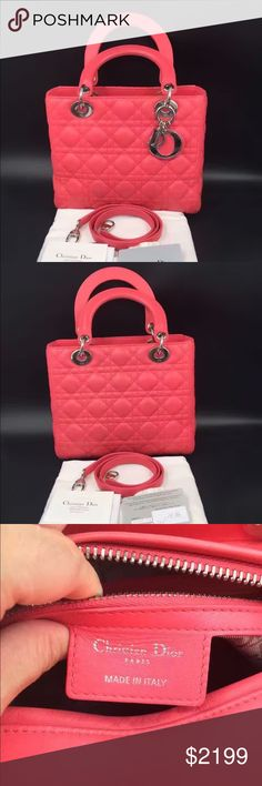 Auth Christian Dior Lady Dior Medium Bag Pink 100% GUARANTEED AUTHENTIC OR 10X YOUR MONEY BACK!!  PHOTOS ARE TAKEN OF THE EXACT SAME ITEM YOU WILL RECEIVE! WHAT YOU SEE IS WHAT YOU GET*** PLEASE VISIT OUR WEBSITE AT WWW.AUTHENTICLUXURIESTW.COM or email me at authenticluxuries11@gmail.com for more detailed photos =). Dior Bags Shoulder Bags