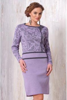 Сиреневое теплое платье с длинным рукавом