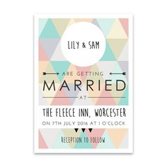 "Brides.com: 20 Geometric Invitations for Modern Couples. ""Geometric Wedding Invitation"" flat-printed wedding invitation, $231 for 100 invitations, Oh My Good Mess"