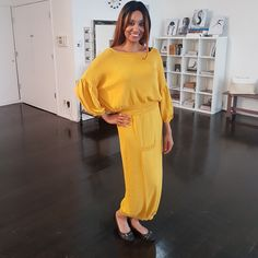 Color trend for Saffron Yellow! This beautiful design from may be from a past collection but it is still at the forefront of fashion! Color Trends, Jumpsuit, Yellow, How To Wear, Beautiful, Collection, Instagram, Dresses, Design
