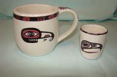 Two Lambert Potteries Vancouver Haida Art pieces Cup Mosquito and Man in the Mo Vancouver, David Lambert, Haida Art, Art Pieces, Pottery, Ceramics, Mugs, Ebay, Cups