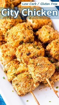 """Tender cubes of pork loin threaded on a skewer, breaded, and pan fried or baked. City Chicken makes a great snack, appetizer, or main meal."" Low Carb Gluten Free City Chicken – You must try this recipe. Ketogenic Recipes, Low Carb Recipes, Healthy Recipes, Ketogenic Diet, Paleo Food, Healthy Food, Breaded Pork Tenderloin, Pork Loin, Baked Chicken Recipes"