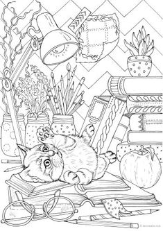 Workspace - Printable Adult Coloring Page from Favoreads (Coloring book pages for adults and kids, Coloring sheets, Colouring designs) Detailed Coloring Pages, Cat Coloring Page, Printable Adult Coloring Pages, Flower Coloring Pages, Disney Coloring Pages, Animal Coloring Pages, Free Coloring Pages, Coloring Books, Kids Coloring