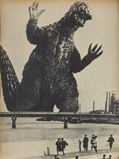 """A casi una década de que el Enola Gay """"sobrevolara"""" las ciudades de Hiroshima y Nagasaki, un enorme monstruo, Godzilla (o Gojira), hace su primera aparición en cine en el año 1954 (dir. Ishirô Honda, para Toho Company Ltd). Luego se lo vería tantas veces más, en películas no sólo de Japón."""