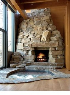 beautiful hand stacked look for the fireplace mantel