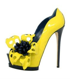High Fashion Shoes | sexy yellow flower fashion high heels shoes 2012