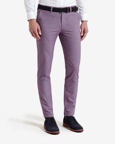 Slim fit cotton twill pants - Purple   Pants & Jeans   Ted Baker