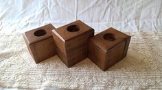 Rustic Wooden Tea Light Candle Holder Set by MeadhillRustic on Etsy