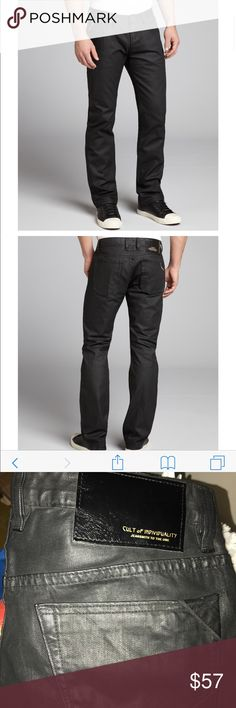 Cult of Individuality Jeans Men's 33 W 34L Cult of Individuality Jeans Men's 33 W 34L . Black coated jeans 👖 Button front. Purchased Nordstrom they we're worn for few hours. Tucked in closed on a hanger brand new condition.Heritage Brand Denim Los Angeles CA Jeans Relaxed