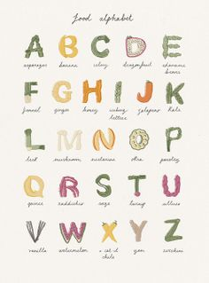 Food Alphabet, Childrens Alphabet, Cute Alphabet, Teaching The Alphabet, Alphabet Design, Alphabet Book, Food Typography, Typography Alphabet, Character Letters